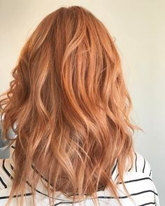 Pretty peach rose gold strawberry blonde by Aveda Artist Monica Savig. Formula: 50g 9n 1.5 loy (deep) 1g lor 1.5 lvb 50g 20vol over natural level 8n