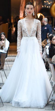 sachin babi spring 2018 bridal illusion long sleeves deep v neck sheer bodice a line wedding dress (12) mv romantic -- #wedding #bridal #weddingdress #ballgown #romantic