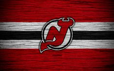 Download wallpapers New Jersey Devils, 4k, NHL, hockey club, Eastern Conference, USA, logo, wooden texture, NJ Devils, hockey, Metropolitan Division