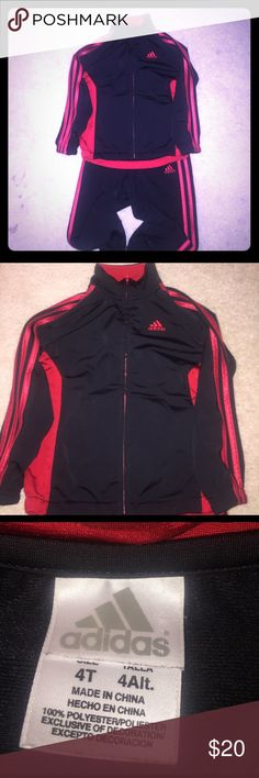 Toddler boys warm up suit. Black and red Addidas warm up suit. Adidas Matching Sets