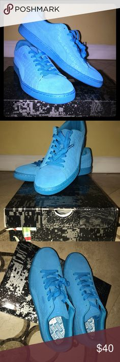 Atomic Blue ICED suede classic sneaker shoes The puma suede classic + ICED athletic feature to a suede upper with a round toe. Man-Made outsole lends lasting traction and wear. Puma Shoes Sneakers