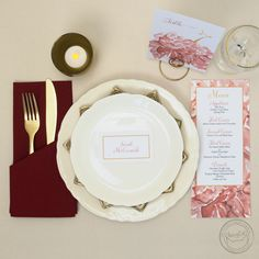 Menus, place cards, and table numbers with gorgeous floral watercolor accents! Customize the color to match your dream theme. | Wedding Invitations by CharmCat Stationery & Design