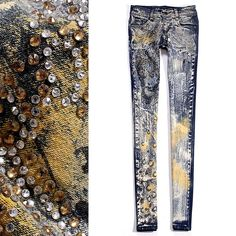Aliexpress.com : Buy Desinger fashion 12 women's low waist rhinestone pasted retro finishing paint jeans repair from Reliable Jeans suppliers on P Boutique