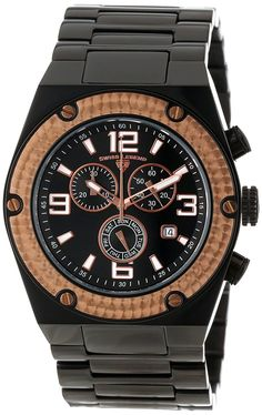 Swiss Legend Men's SL-40025P-BB-11-RB Throttle Black Ion-Plated and Rose Gold Ion-Plated Stainless Steel Watch ** For more information, visit image link.