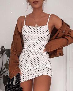 poka dot dress spring fashion trendy fashion fashion inspo brown jacket mini skirt white mini skirt trendy outfit - Mini Skirts - Ideas of Mini Skirts Look Fashion, Trendy Fashion, Spring Fashion, Trendy Clothing, Womens Fashion, Stylish Clothes, Casual Clothes, Brown Fashion, Holiday Fashion