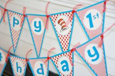 Happy Birthday Pennant Dr. Seuss Theme Banner With Age -
