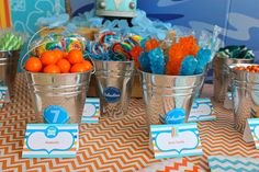 Candy in buckets at a Surf Party #surf #partycandy