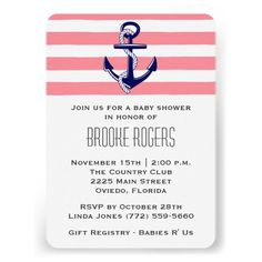 Baby Shower Invite   Pink & Navy Nautical