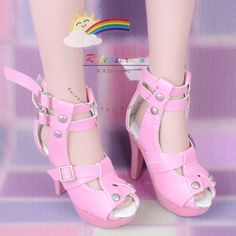 "Straps Studs High-Heel Platform Sandals Shoes Pink for For 22"" Tonner American Model Dolls"