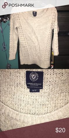 Cream Sweater Warm cream colored sweater from American Eagle! This sweater is great for winter and it goes with everything! American Eagle Outfitters Sweaters Crew & Scoop Necks