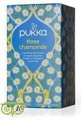 Pukka Thee three chamomile Heerlijke thee van 3 soorten kamillebloem.  Ingredienten Egyptische kamillebloem (90%), Kroatische kamillebloem (5%), Hongaarse kamillebloem (5%). 100% gecertificeerd biologisch.