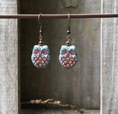 Antique Copper Earrings Turquoise Earrings Bohemian Earrings Gypsy Earrings Owl Earrings Dangle Earrings Boho Jewelry Czech Owl Earrings by KesaliSkye on Etsy