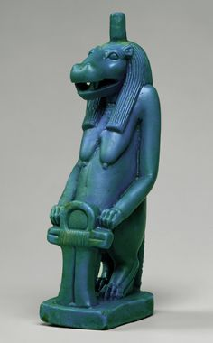 Statuette of the goddess Taweret, Ptolemaic Period, ca. 332–30 B.C. Egyptian Glassy faience
