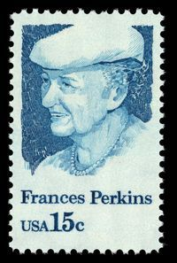 March 4, 1933: the start of President Roosevelt's first administration brought with it the first woman to serve in the Cabinet: Labor Secretary Frances Perkins. World Stamp Show-NY 2016's photo.