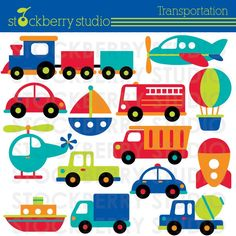 Transportation Clipart - Plane, Train and Automobiles - Instant Download. $5.00, via Etsy.