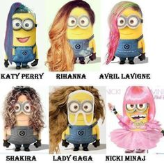 Heights of Minions hahah- Katy Perry, Rihanna, Avril Lavigne, Shakira, Lady Gaga and Nicki Minaj. Despicable Me Minions in a totally different avatar! Minions Despicable Me, My Minion, Minion Stuff, Minion Names, Minion Things, Minions 2014, Minion Banana, Evil Minions, Minion Humour