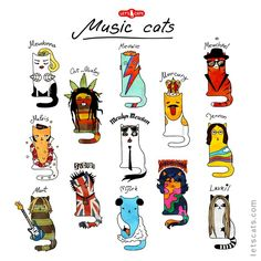 Music Cats - World's largest collection of cat memes and other animals Motifs Animal, Charles Darwin, All About Cats, Arte Pop, Cat Drawing, Copics, Art Plastique, Cat Life, Cat Memes