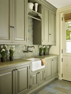 Olive Green Kitchen Cabinets - Olive Green Kitchen Cabinets, 31 Green Kitchen Design Ideas Paint Colors for Green Kitchens Olive Green Kitchen, Sage Kitchen, Green Kitchen Cabinets, Kitchen Cabinet Colors, Painting Kitchen Cabinets, Kitchen Paint, Kitchen Redo, Kitchen Colors, Country Kitchen