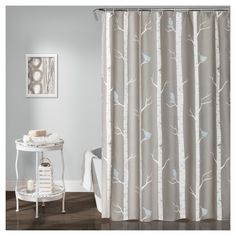 "Bird on the Tree Shower Curtain Gray/Blue (72""x72"") - Lush Decor, Grey"