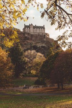 Edinburgh Castle in Autumn from Princess Street Gardens. [Lost in Edinburgh: 50 Fantastical Photos | Scotland Travel | Photography  -- Taken with Canon 650D Rebel T4i and 24-105mm lens, edited in Lightroom with VSCO.]