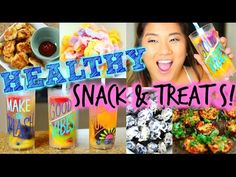 Healthy Summer Snacks & Treats! #CookingWithRemi -  Cauliflower crust pizza Fruit Popsicles Froyo bites Coconut chicken nuggets Frozen yogur blueberries