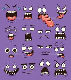 Funny cartoon faces. Vector clip art illustration with simple gradients. each on a separate layer. EPS10 and PSD files included.