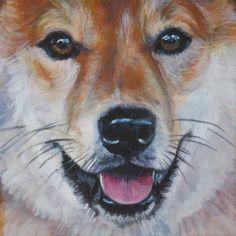 shiba Inu painting LSHEP dog 12x12 CANVAS art PRINT
