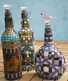 Mosaic by Anja Berkers - mosaics and mixed media art Recycled Wine Bottles, Wine Bottle Art, Wine Bottle Crafts, Mosaic Bottles, Mosaic Vase, Mosaic Crafts, Mosaic Projects, Mosaic Madness, Altered Bottles