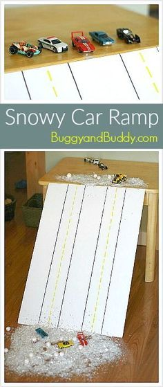 Winter Science and Sensory Play for Kids: Make an indoor car ramp with fake snow! Kids can explore physics with an easy to make ramp while playing with toy cars!