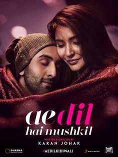 A new poster of Karan Johar's upcoming film 'Ae Dil Hai Mushkil' has been released which show the beautiful comfy chemistry between Ranbir Kapoor and Bollywood Posters, Bollywood Cinema, Bollywood Songs, Bollywood Box, Bollywood Girls, Cinema Movies, Movie Songs, Hd Movies, Dj Songs