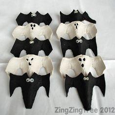 Halloween Bat and Ghost Eyes. Tutorial Murcielagos con envases de huevos.