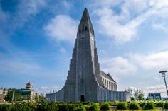 A shot of Hallgrímskirkja, a Lutheran church in Reykjavík, Iceland against a beautiful blue sky.  || #AlexTonettiPhotography #Photography