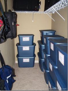 Good idea to store anything in labled bins. Stacked into one area. - Delightful Order: Storing Children's Hand Me Downs & Attic Wardrobe, Attic Closet, Attic Office, Attic Playroom, Master Bedroom Closet, Hall Closet, Master Bath, Kids Clothes Organization, Attic Organization