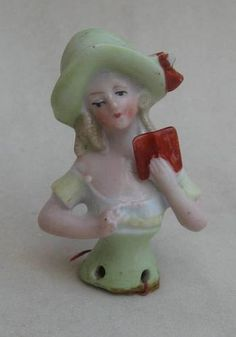 Old Pin Cushion Half Doll Germany Numbered Curly Hair Lady with Hat Book, on eBay