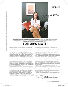 Bielle Bellingham's Editor's letter for ELLE Decoration SA Elle Decor, Effort, Custom Design, Lettering, Decoration, Creative, Fabric, Decor, Tejido