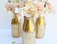*Featured on Loverly and Emmaline Bride. Rustic and elegant at the same time, these gold milk bottles are perfect for barn or rustic weddings. They