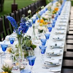 spring outdoor wedding  green decorations | blue wedding reception decor, reception