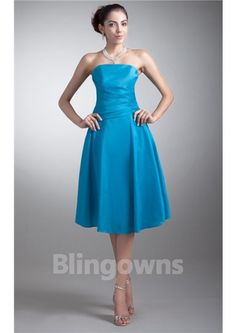 Knee Length Chiffon A-line Ruched Blue Strapless Zipper  Sleeveless Homecoming / Bridesmaid  Dresses