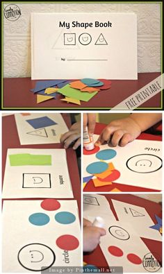 Simple Shape Book: We are working on basic shapes. My kids love two things: glue sticks and reading books. So, I combined their two loves by creating them a Simple Shape Book! They get to glue shapes into the book and then read it over and over again. Fun! Considering my kids have a pretty short attention span, I created the book with only three shapes. A circle, square and triangle. Can teach Colors and Shapes at the same time.