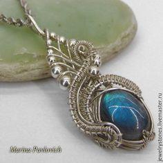 Кулон из серебра с ярким голубым лабрадором
