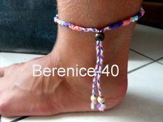 Bracelet brésilien ajustable - bijou pour cheville en fil coton et perles bois - porte bonheur : Bracelet par berenice-40