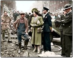 King George VI and Queen Elizabeth visiting bomb damaged streets in the East End of London on the 18th of October 1940.