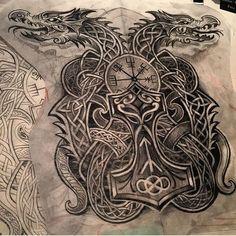 "1,152 Likes, 17 Comments - Norse_tattoos (@norse_tattoos) on Instagram: ""Artist IG @deano_robertson #celtictattoo #celticdragon #mjolnir #vegvisir #runes #tattoodesign…"""