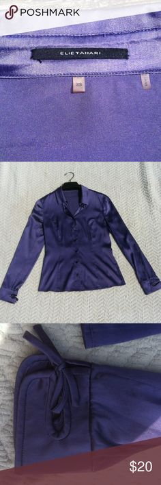 Tahari button up shirt Tahari button up purple blouse. 95% silk, extra small. Very smooth, vibrant purple color. Tahari Tops Button Down Shirts
