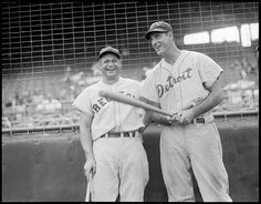 1937 - Red Sox Jimmie Foxx and Detroit Tiger Hank Greenberg at Fenway Park