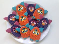 Furby | Cookie Connection 6th Birthday Parties, 8th Birthday, Birthday Cake, Furby Boom, Donut Cupcakes, Dolly Doll, Cream Cheeses, Macaroons, Party Planning