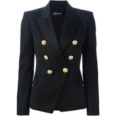 BALMAIN Fitted Blazer ($1,897) ❤ liked on Polyvore featuring outerwear, jackets, blazers, blazer, double breasted jacket, black double breasted jacket, long sleeve blazer, black blazer and balmain jacket