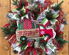 Fall Wreaths Halloween Wreaths Wreaths For by WishingWellWreaths Halloween Door Wreaths, Christmas Mesh Wreaths, Holiday Wreaths, Christmas Decorations, Christmas Red Truck, Country Christmas, Christmas Tree, Winnie The Pooh Decor, Red Truck Decor