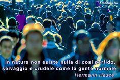 """""""In natura non esiste nulla di così perfido, selvaggio e crudele come la gente normale."""" Hermann Hesse Lettere 1895-1962 (postumo 1973-1986)"""