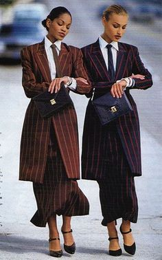 Vintage Dressing BUSINESS Although high fashion magazines didn't dwell on business fashion (some would call it anti-fashion), they couldn't completely ignor. Anti Fashion, Look Fashion, Retro Fashion, Runway Fashion, Korean Fashion, High Fashion, Vintage Fashion, Fashion Design, 80s And 90s Fashion